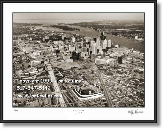 Click on this image to see an enlarged view of Detroit aerial skyline picture photo MOTOR CITY.