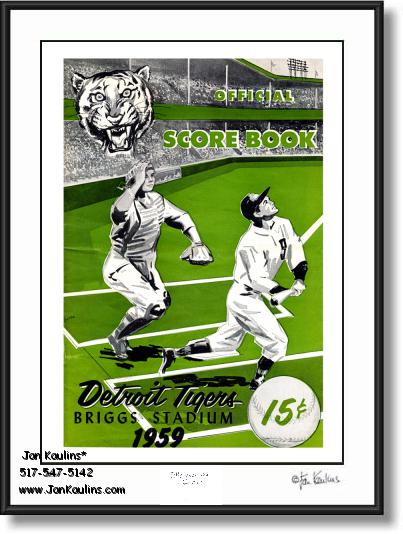 Click on this image to see an enlarged view of BRIGGS STADIUM 1959 Scorebook Cover art print.