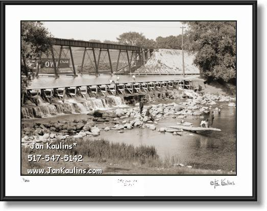 Click on this image to see an enlarged view of Vintage Old Ann Arbor HURON RIVER DAM 1908.