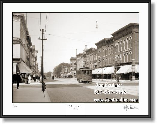 Click on this image to see an enlarged view of Old Vintage Ann Arbor photo print MAIN ST. 1905.