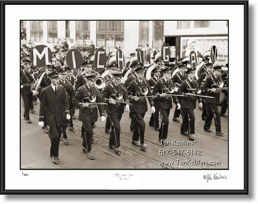 Click on this image to see an enlarged view of MICHIGAN MARCHING BAND 1947 photo print.