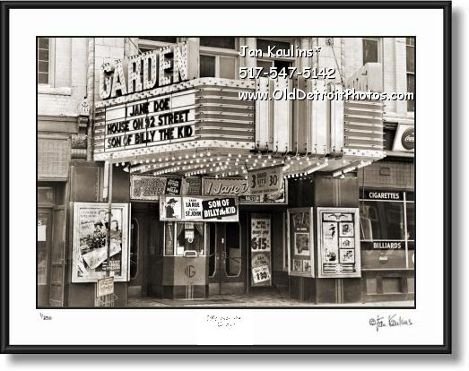 Click on this image to see an enlarged view of GARDEN THEATER Detroit Old photo picture print.