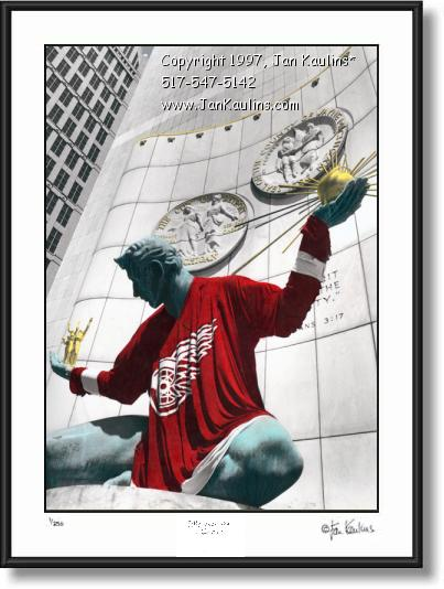 Click on this image to see an enlarged view of Spirit of Detroit Red Wings Jersey photo print.