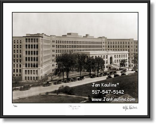 Click on this image to see an enlarged view of UNIVERSITY of MICHIGAN HOSPITAL 1920 photo.