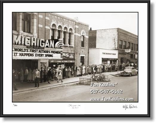 Click on this image to see an enlarged view of Old Ann Arbor Michigan Theater  photo print 1948.