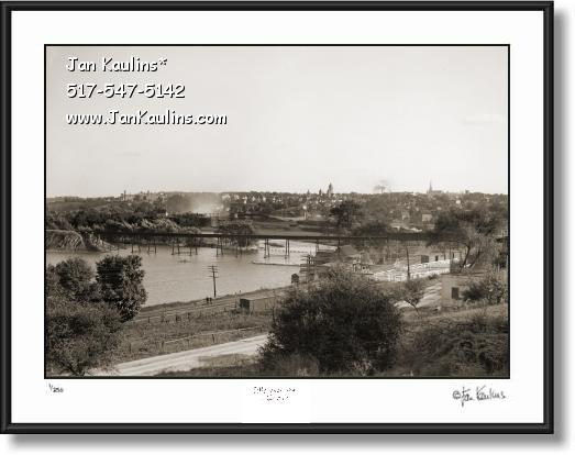 Click on this image to see an enlarged view of Old Ann Arbor Huron River Dam photo print 1909.