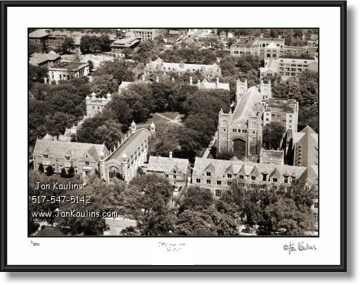 Click on this image to see an enlarged view of UofM LAW QUAD Old Ann Arbor photo print 1955.
