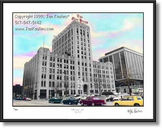 Click on this image to see an enlarged view of DETROIT FREE PRESS Building photo art print.
