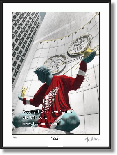 Click on this image to see an enlarged view of Spirit of Detroit Detroit Red Wings picture photo.