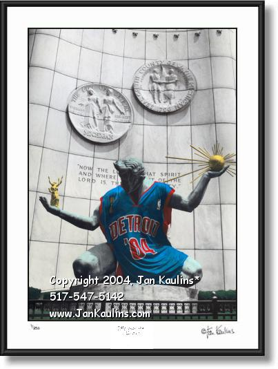 Click on this image to see an enlarged view of Detroit Pistons 2004 Spirit of Detroit photo print.