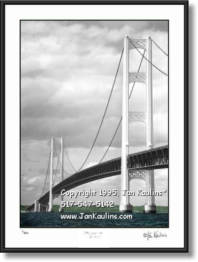 Click on this image to see an enlarged view of MACKINAC BRIDGE photo picture art print photo.