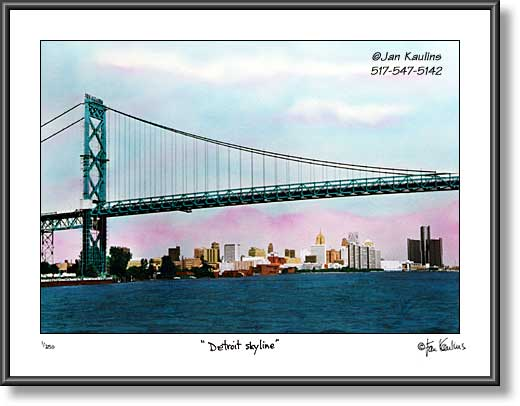 Ambassador Bridge photo Detroit Skyline photo