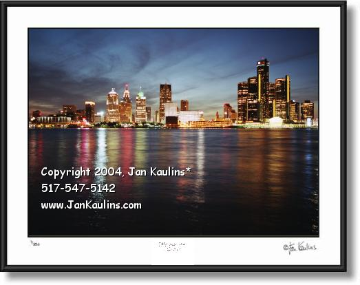 Click on this image to see an enlarged view of DETROIT SKYLINE picture Detroit Skyline photo.