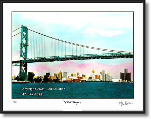 Click on this image to see an enlarged view of Detroit Skyline Ambassador Bridge photo print.