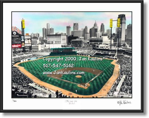 Click on this image to see an enlarged view of Comerica Park Detroit Skyline photo picture print.