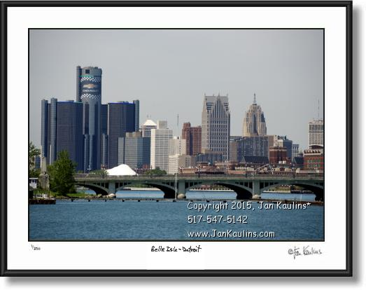 Click on this image to see an enlarged view of Detroit skyline photo picture Belle Isle.