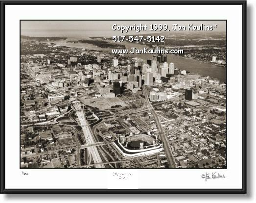 Click on this image to see an enlarged view of DETROIT SKYLINE aerial photo Detroit Skyline.