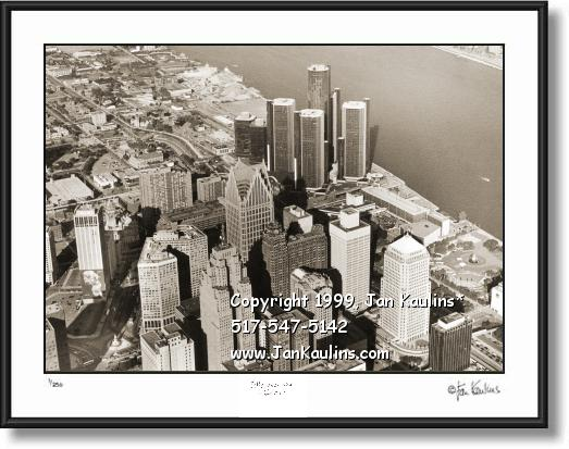 Click on this image to see an enlarged view of DETROIT skyline aerial skyline picture photo print.