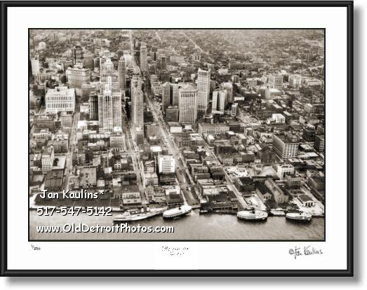 Click on this image to see an enlarged view of Detroit skyline historic 1940's photo picture print.