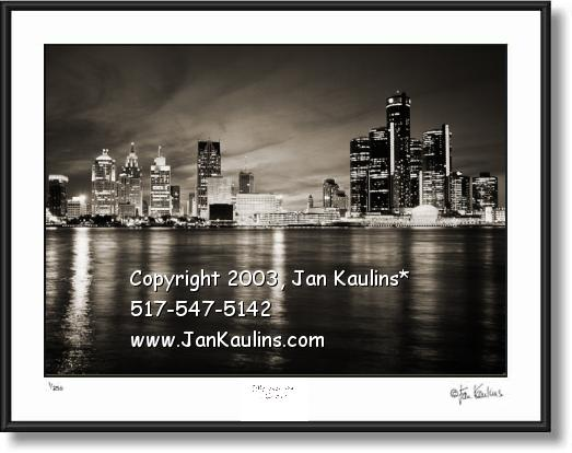 Click on this image to see an enlarged view of DETROIT SKYLINE photo print Detroit skyline.