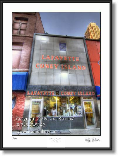Click on this image to see an enlarged view of Lafayette Coney Island Detroit Photo Art Print.
