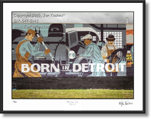 Click on this image to see an enlarged view of BORN IN DETROIT Carhartt mural art photo print.