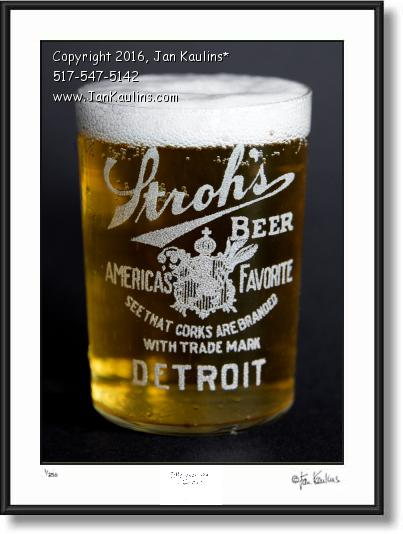 Click on this image to see an enlarged view of  Old Detroit Stroh's 1920's Beer Glass photo print.