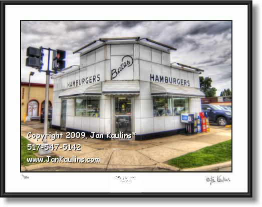 Click on this image to see an enlarged view of Bates Hamburgers photo Bates Burgers art print.