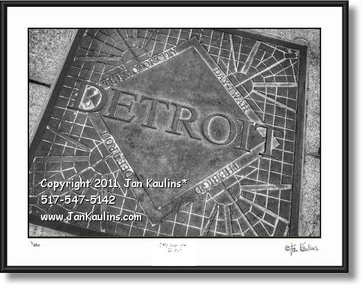 Click on this image to see an enlarged view of DETROIT THE BIG D  MOTOR CITY manhole cover.