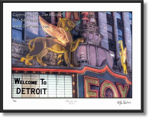 Click on this image to see an enlarged view of FOX THEATER Welcome to Detroit photo print.