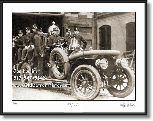 Vintage Detroit Fire Dept Engine old photo print