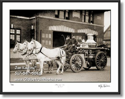 Click on this image to see an enlarged view of Detroit Fire Department Horses Old photo print.
