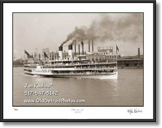 Click on this image to see an enlarged view of TASHMOO DETROIT RIVER old photo print picture.