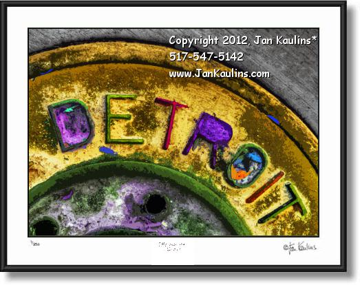 Click on this image to see an enlarged view of DETROIT MANHOLE COVER photo art picture .