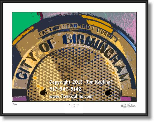 Click on this image to see an enlarged view of BIRMINGHAM MI manhole cover photo art print.