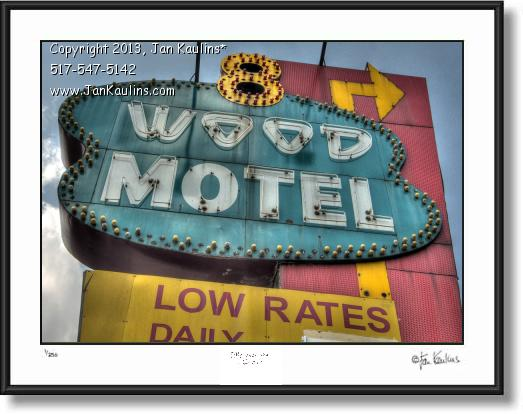 Click on this image to see an enlarged view of 8 WOOD MOTEL DETROIT photo art photograph.