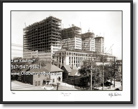 Old GM BUILDING construction photo picture print