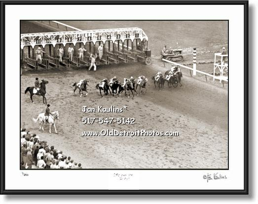 Old HAZEL PARK RACE TRACK 1951 photo print