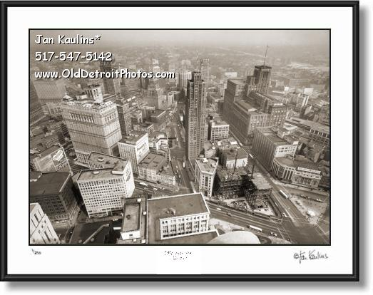 Click on this image to see an enlarged view of DETROIT AERIAL vintage old photo art print #A1.