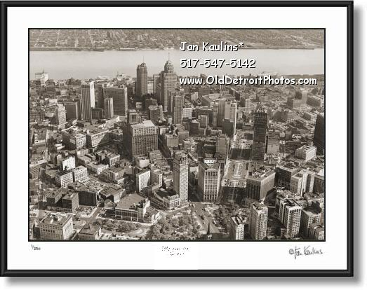 Click on this image to see an enlarged view of DETROIT SKYLINE OLD AERIAL  photo print #A5.