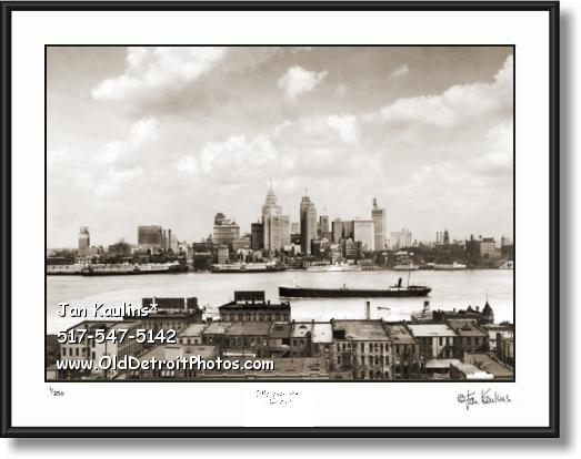 Click on this image to see an enlarged view of DETROIT Skyline Old Detroit skyline photo 1928.