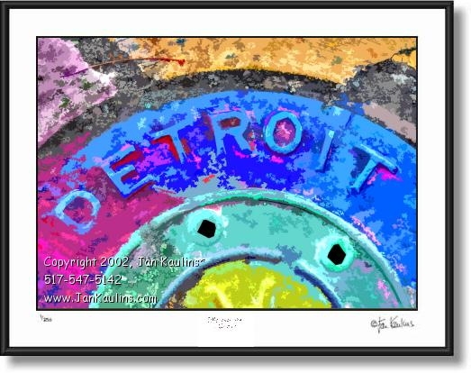Click on this image to see an enlarged view of DETROIT MANHOLE COVER photo art print .
