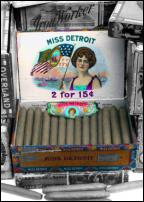 Click on this image to see an enlarged view of MISS DETROIT Cigar box picture photo art print.