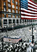 Click on this image to see an enlarged view of JL Hudson's Bldg. & Flag - Detroit picture photo.