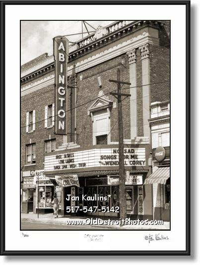Vintage Detroit Movie Theater ABINGTON Photo